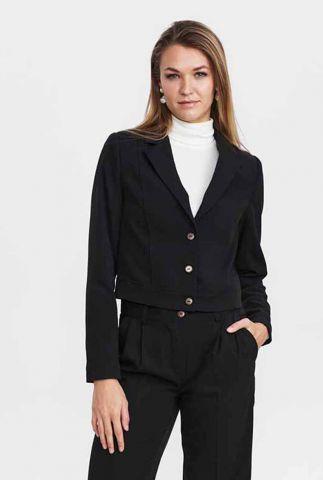 zwarte cropped blazer met knopen nuabbelea blazer 701229