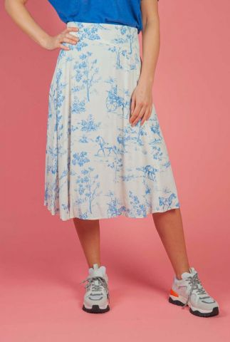 witte viscose rok met blauwe all-over print nuarzilla skirt 7220108