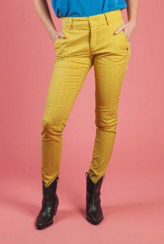 oker gele pantalon met gekleurde ruiten print 7220621 nubabasan