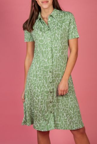 lichtgroene jurk met korte mouw en all-over letter print nuairini dress 7220807