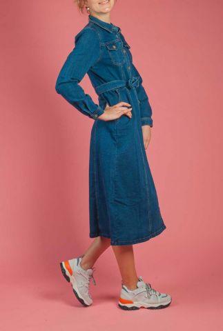 lange denim jurk met stretch nuayleth dress 7220819