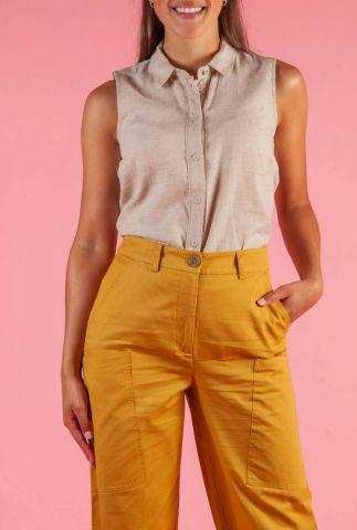 beige mouwloze blouse van linnen en katoen nuboheme 7320018