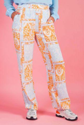 wijde licht blauwe broek met sierlijke oranje print nubali 7320610