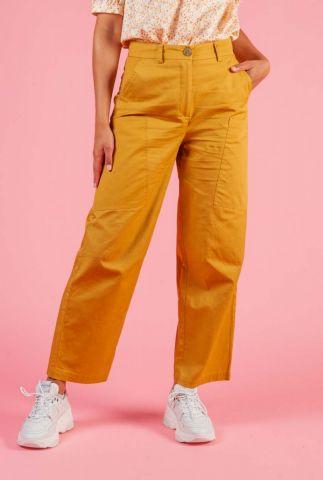 oker gele katoenen broek met zijzakken nubizzy 7320614