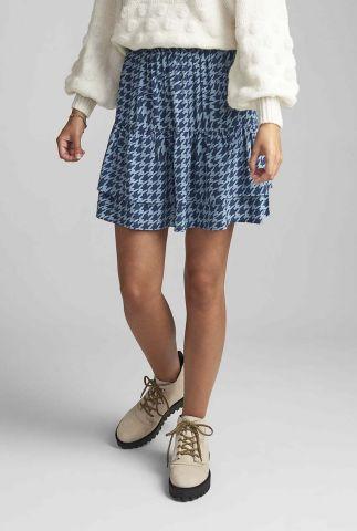 blauwe mini rok met pied de poule dessin nuballou skirt 7420107