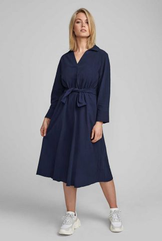 donkerblauwe katoenen jurk nubethany dress 7420801