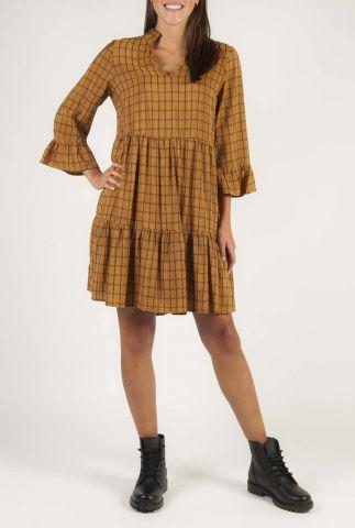 bruine jurk met ruiten en trompetmouw nubeula dress 7420828