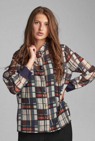 semi-transparante blouse met grafische ruit nubelva shirt 7520002