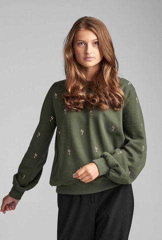 groene sweater met geborduurde details nubrittany 7520703