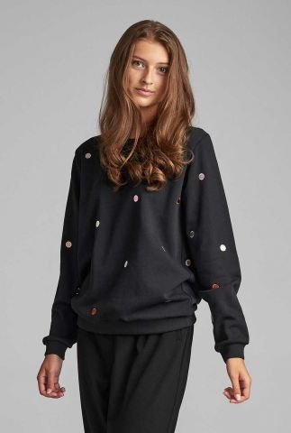 zwarte sweater met geborduurde stippen nubrunhilda sweat 7520706