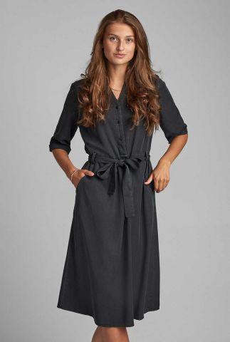 zwarte midi jurk van viscose mix nubethoc 7520812