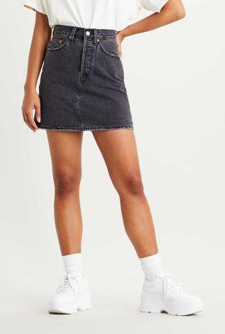 grijze denim mini rok met rafels deconstructed skirt 77882-0018