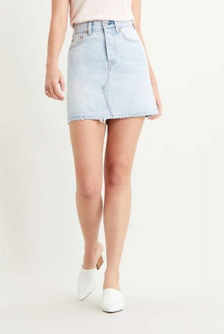 lichte denim mini rok met rafels decontructed skirt 77882-0019