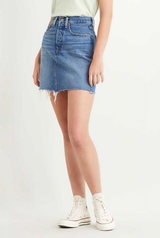 blauwe denim mini rok met rafels deconstructed skirt 77882-0020