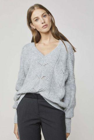 grijze trui van alpaca wol met ajour details 7s5508-7780