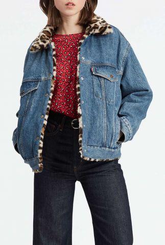 reversible spijker jack met faux fur luipaard dessin  83958-0000