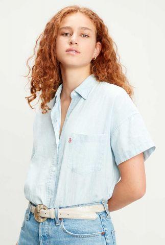 lichte denim blouse met korte mouw 85334-0005 alexandra shirt