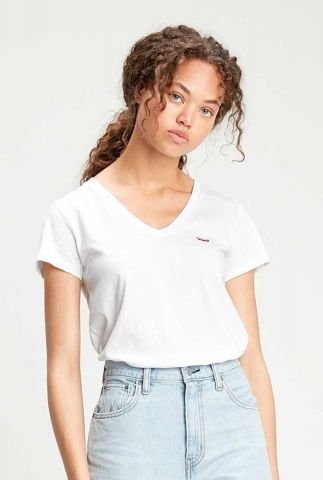 wit basis t-shirt met v-hals 85341-0002 perfect vneck tee