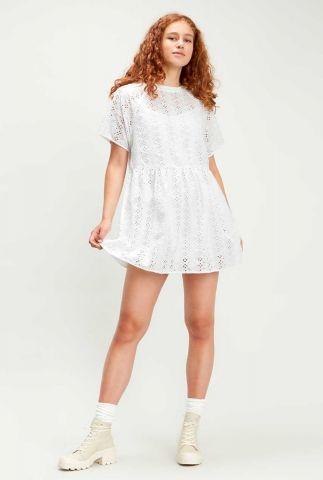 witte jurk met opengewerkt dessin poppy dress 85428-0000