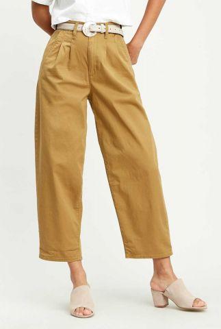 katoenen khaki broek met high waist en ballon pasvorm pleated balloon 85791-0000