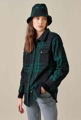 donkergroene blouse met borstzakjes en ruit dessin ari c0987