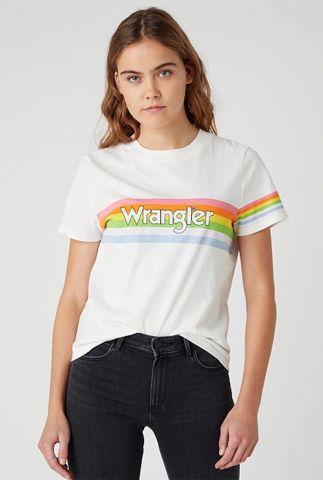 wit t-shirt met gekleurde strepen regular rib tee W7N9GHW02