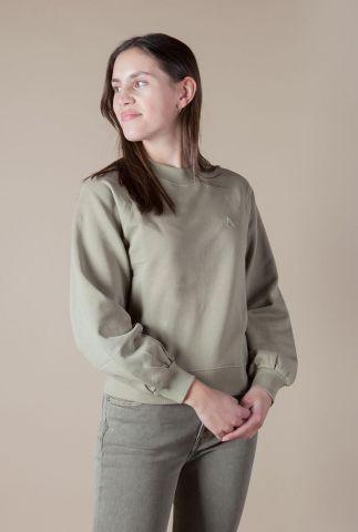 groene sweater met geborduurd logo a sweater l/s