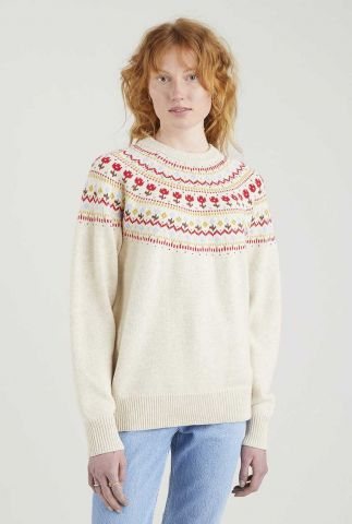 crème kleurige trui met ingebreid dessin slouchy crewneck A0698-0000