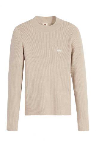 fijn gebreide beige trui met rib dessin A0719-0002