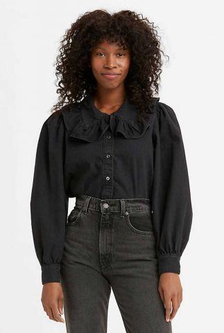zwarte blouse met ruches detail emilie blouse A0918-0001