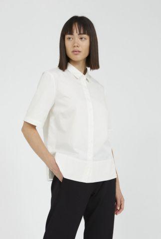 witte katoenen blouse met half lange mouwen aagat 30002550