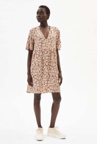 roest kleurige midi jurk met bladeren print aaino 30002884