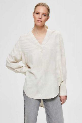 off-white gestreepte top met v-hals en oversized pasvorm abby long top