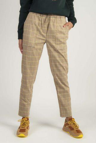 bruin geruite broek met elastische band abella pants