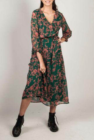 groene maxi jurk met botanische bloemen dessin achille