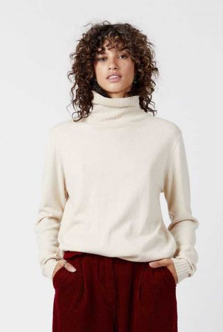 zand kleurige trui met colkraag  adil jumper