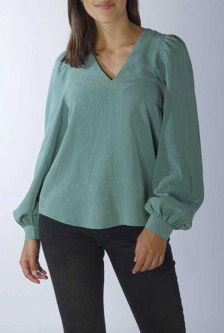 blauw groene blouse met pofmouwen en v-hals addilyn