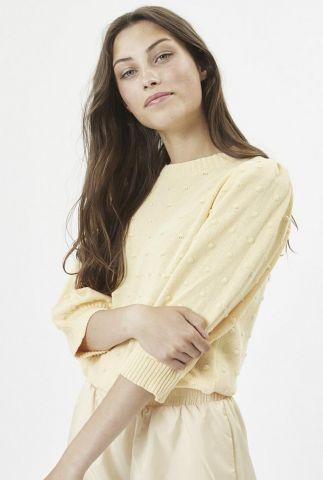 licht gele trui met ingebreide bolletjes aksa 7449