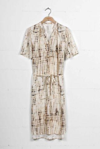 crème kleurige jurk met bruine all-over print moana dress id0129