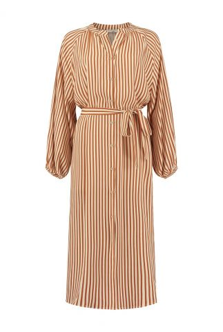 oranje gestreepte maxi jurk met ceintuur aletta s21.50.3133