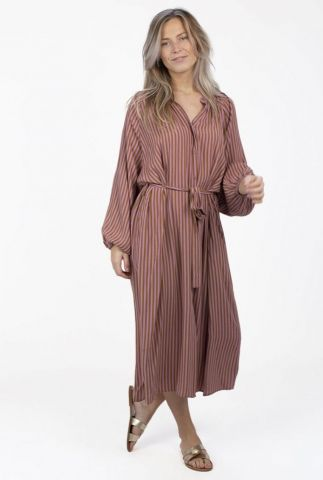gestreepte maxi jurk met ballonmouwen aletta s21.50.2822