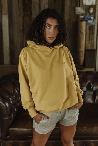gele hoodie van bio katoen met capuchon hooded sweater alex