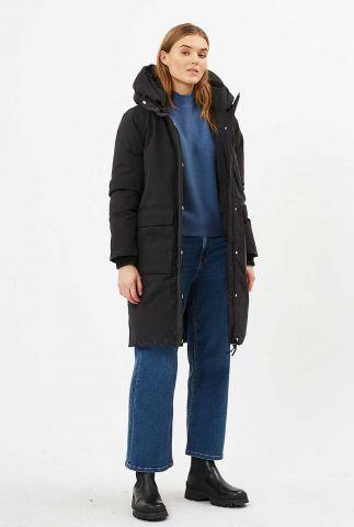 zwarte gewatteerde jas met capuchon en ritssluiting alilla 0020