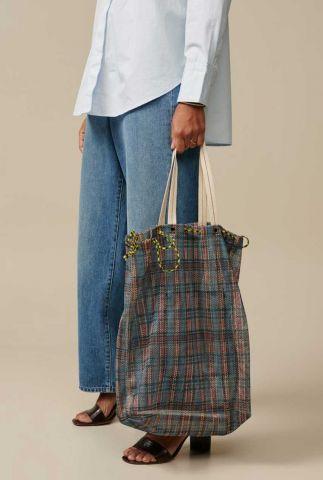 rood blauw geruite shopper aline bag c0960