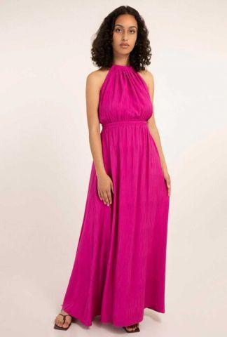 fuchsia maxi jurk met open rug en elastische taille alisier