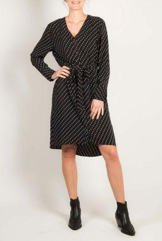 zwarte jurk met witte stippen print en ceintuur alix dress