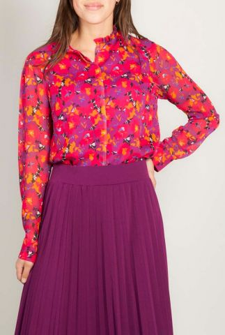 rood paarse blouse met bloemen print en ruche detail alix shirt