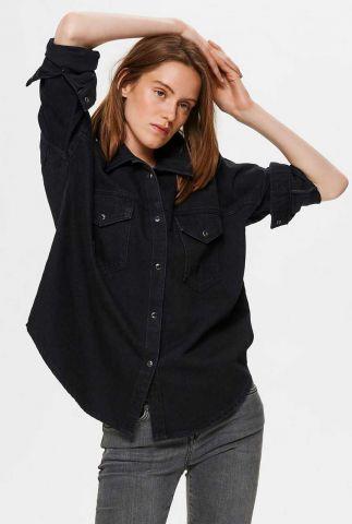 zwarte spijkerblouse ally denim shirt 16075547