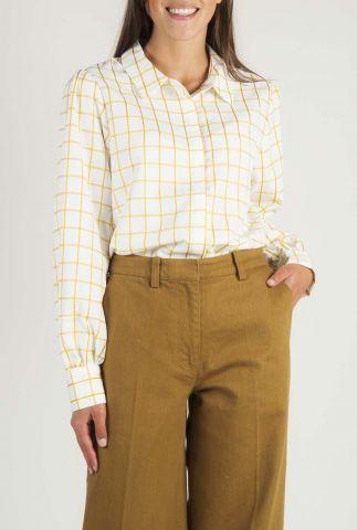 witte blouse met gele ruiten dessin alodie shirt l/s