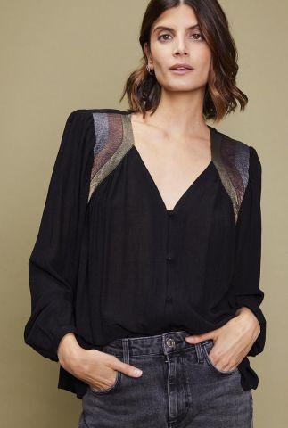 zwarte crepe blouse met metallic details amalia